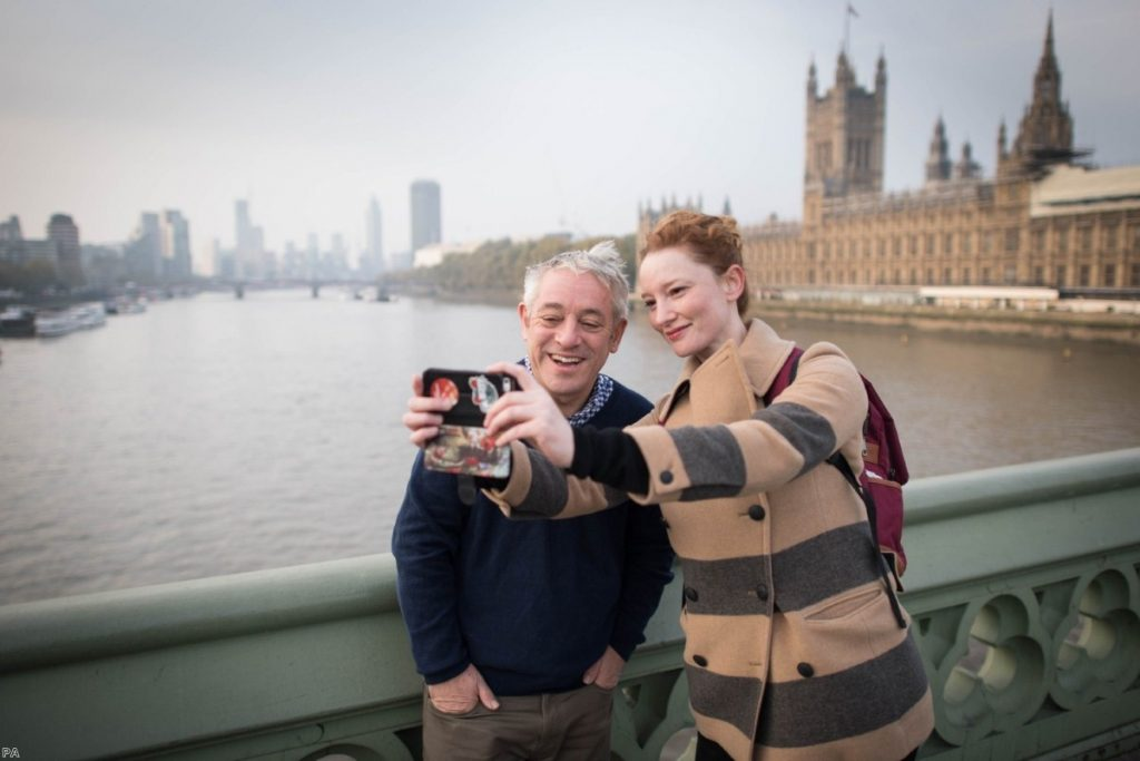 John Bercow has a selfie taken with a woman on Westminster Bridge, just before his last session as speaker on Thursday.