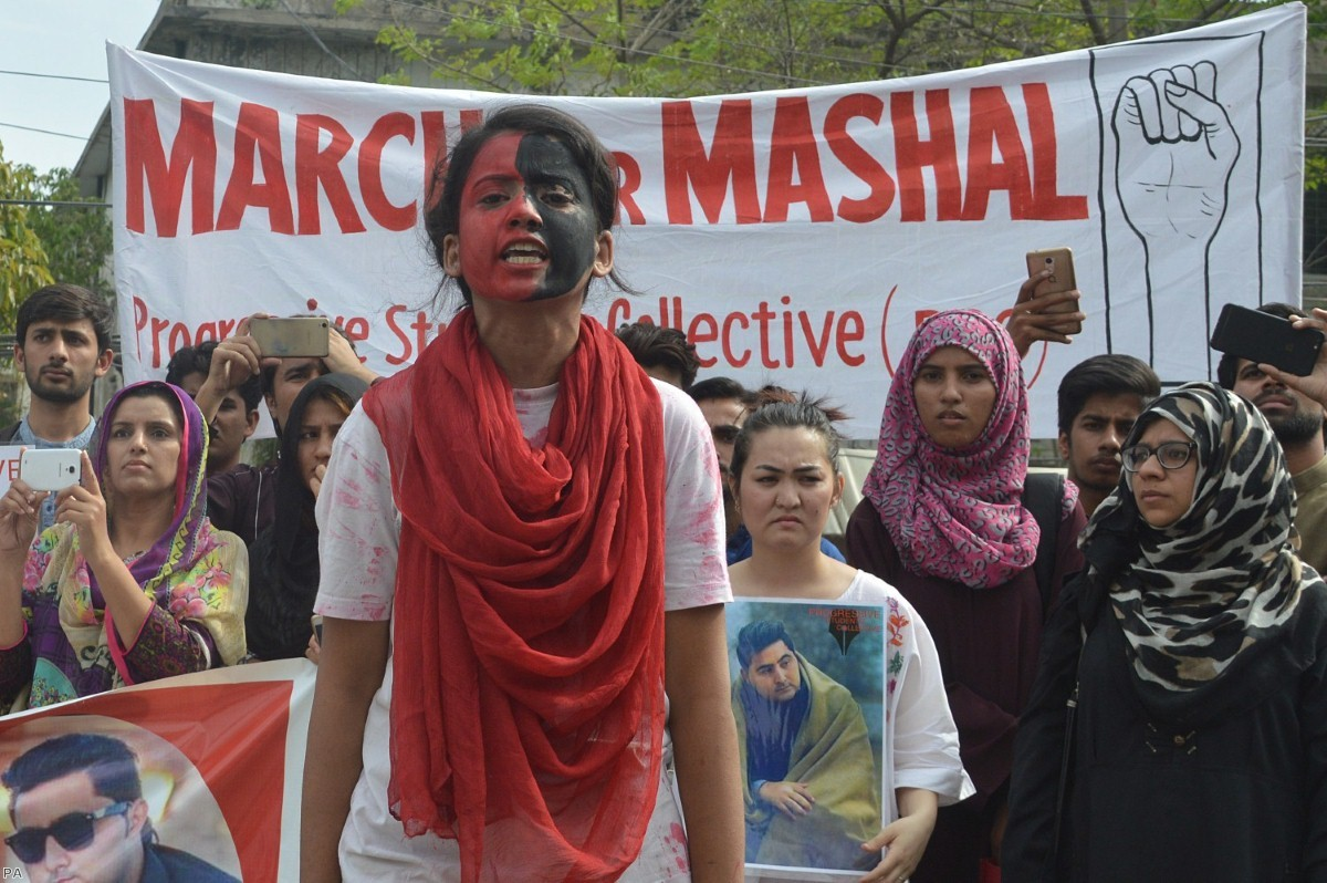 Pakistani activists hold a rally demanding justice for Mashal Khan, who was brutally murdered by a mob over false blasphemy allegations in 2017.