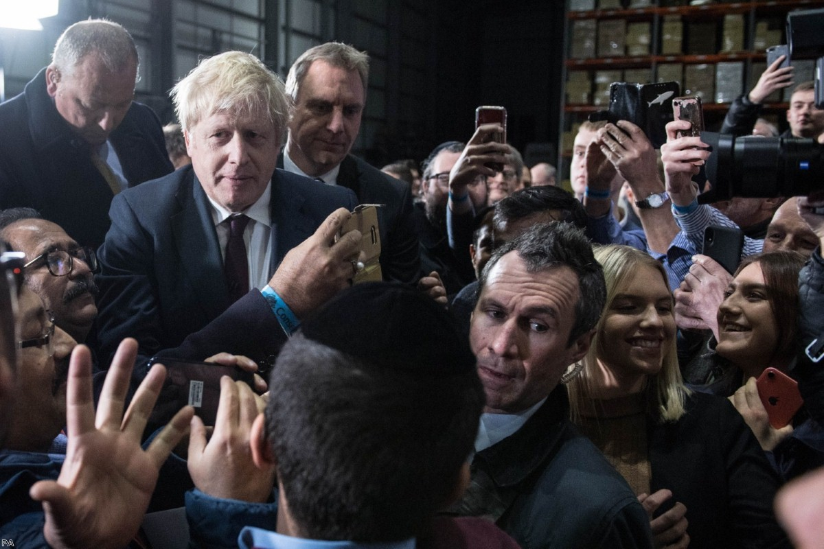 Boris Johnson during a visit to Globus Group in Stretford, Manchester, while on the campaign trail
