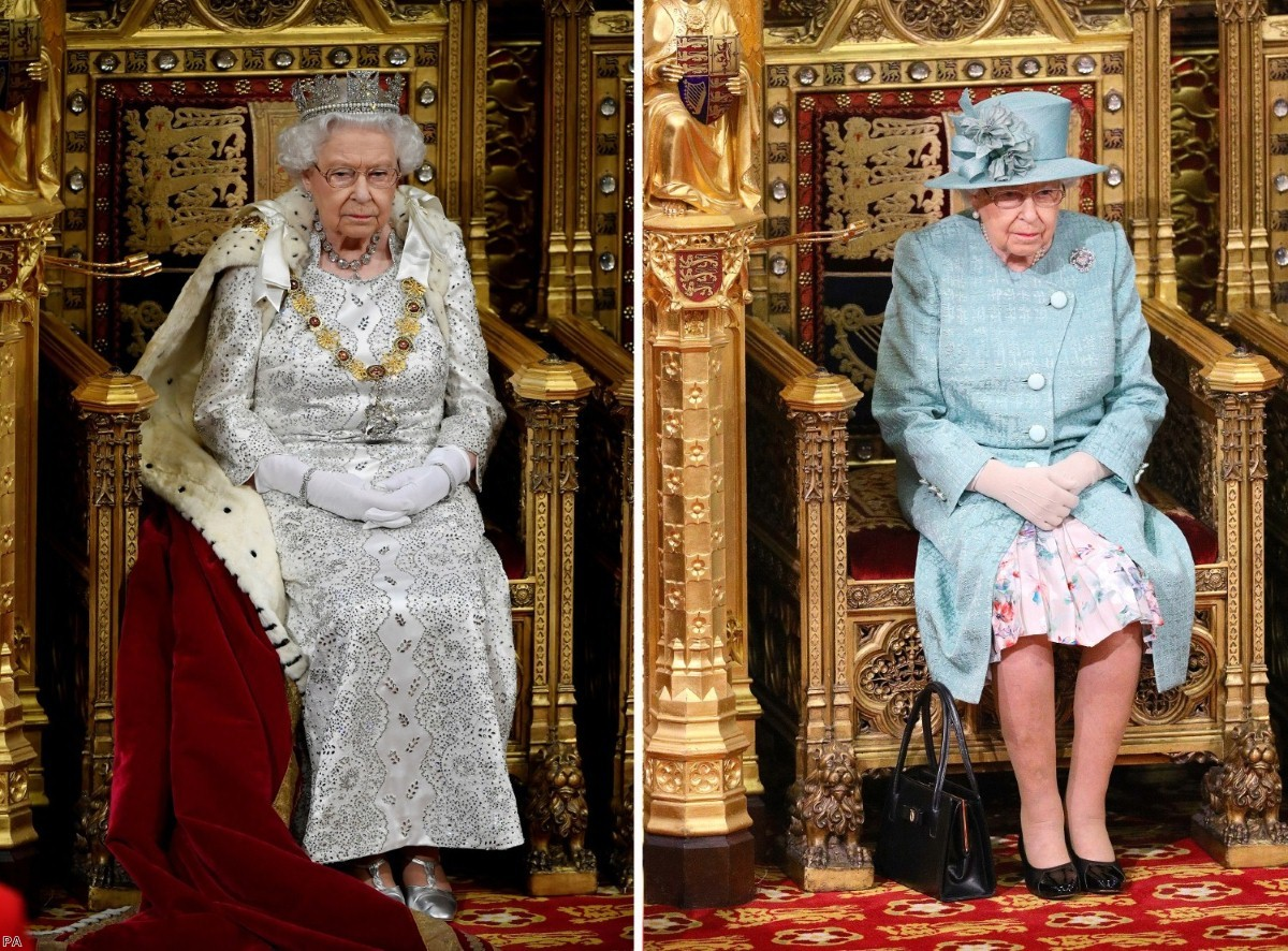 Little pomp: No robes for the Queen in this latest State Opening of Parliament (right). She is pictured in her previous visit on the left.