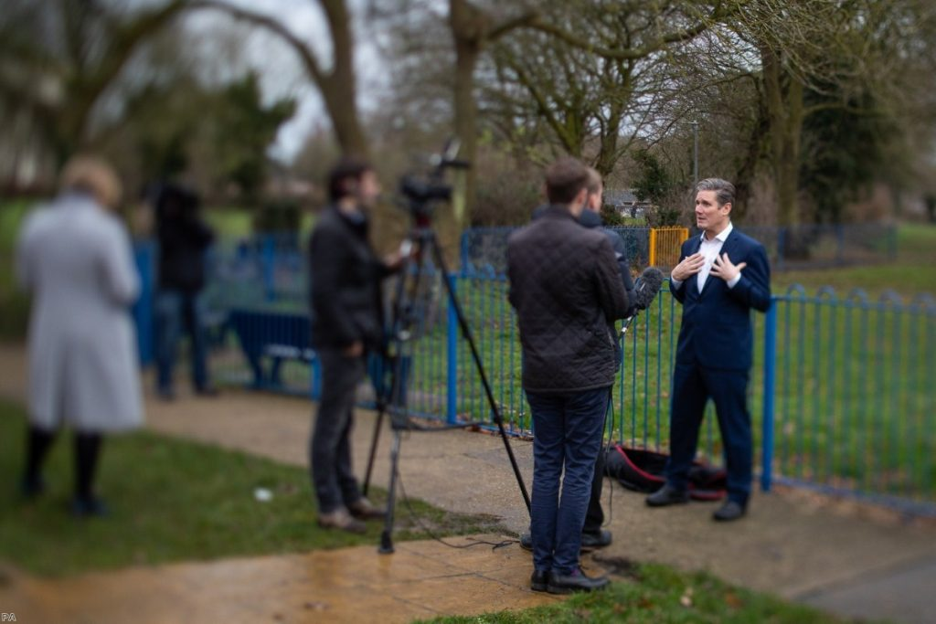 Keir Starmer talks to press in the initial stages of the leadership battle.