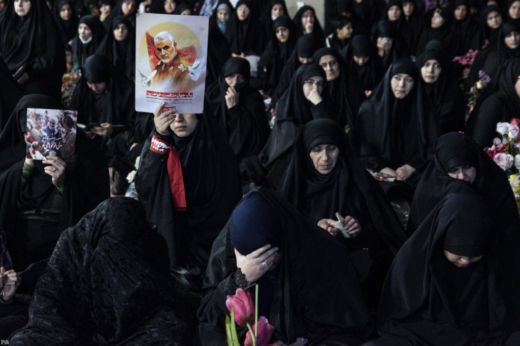 Women in Iran mourn the killing of Qasem Soleimani four days after his death.