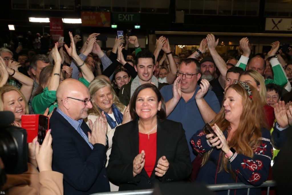 Sinn Fein leader Mary Lou McDonald celebrates during the Irish general election count