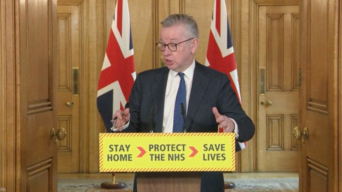 Minister for the Cabinet Office Michael Gove answers questions from the media via a video link in Downing Street.
