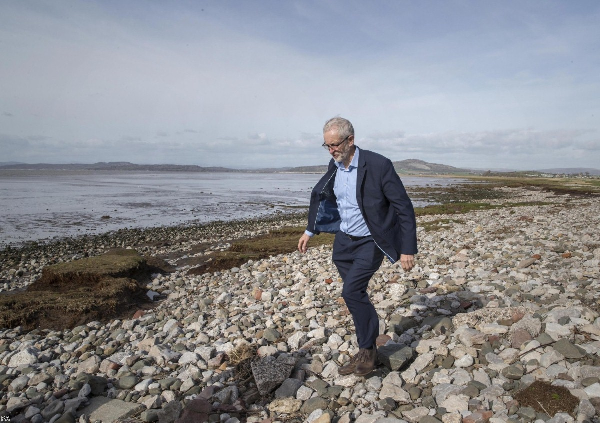 Corbyn walking on the beach after canvassing in Morecambe during recent local elections. As of tomorrow, Labour will have a new leader.