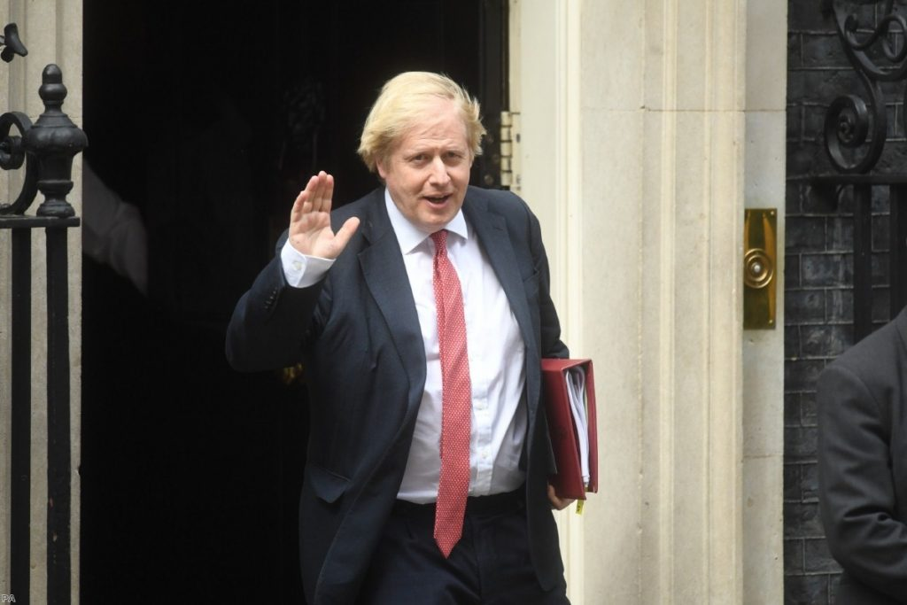 Boris Johnson leaves 10 Downing Street for the House of Commons ahead of his statement this afternoon