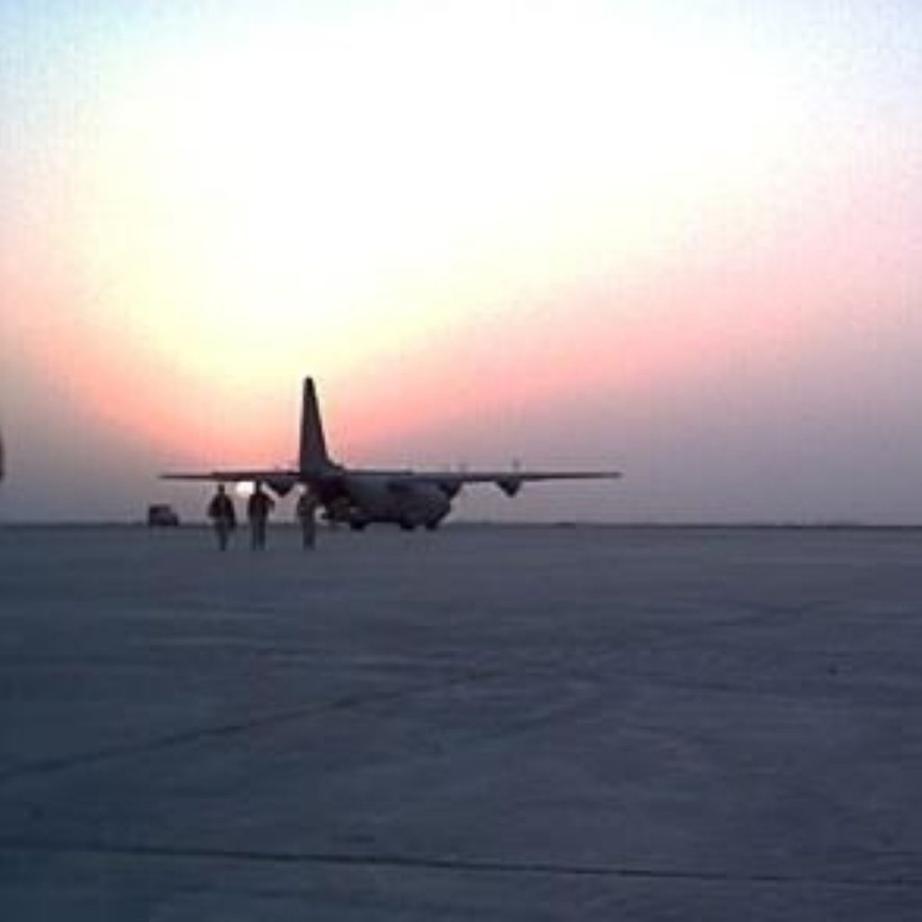 RAF Hercules transports rescued British nationals trapped in the desert
