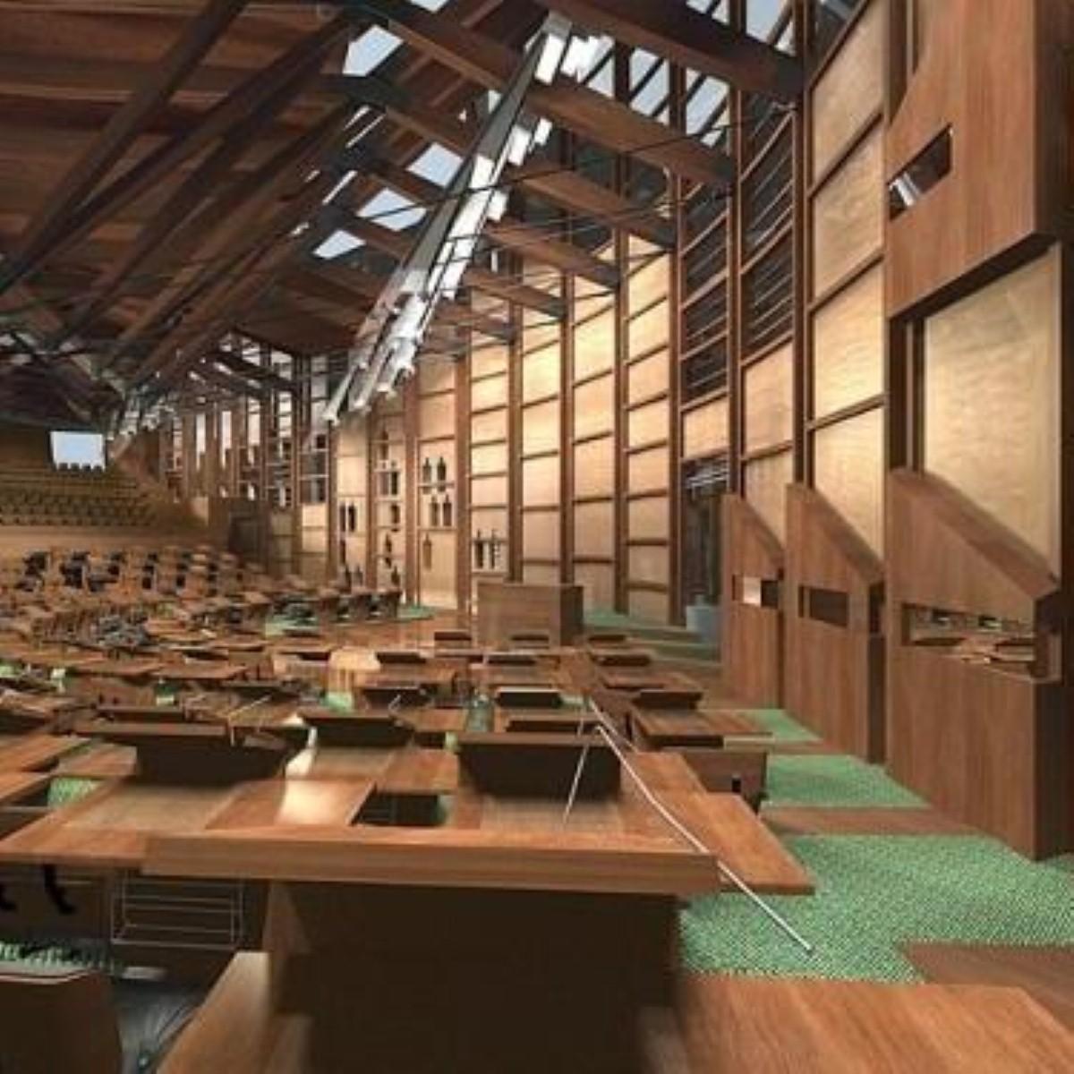 The Scottish parliament debating chamber