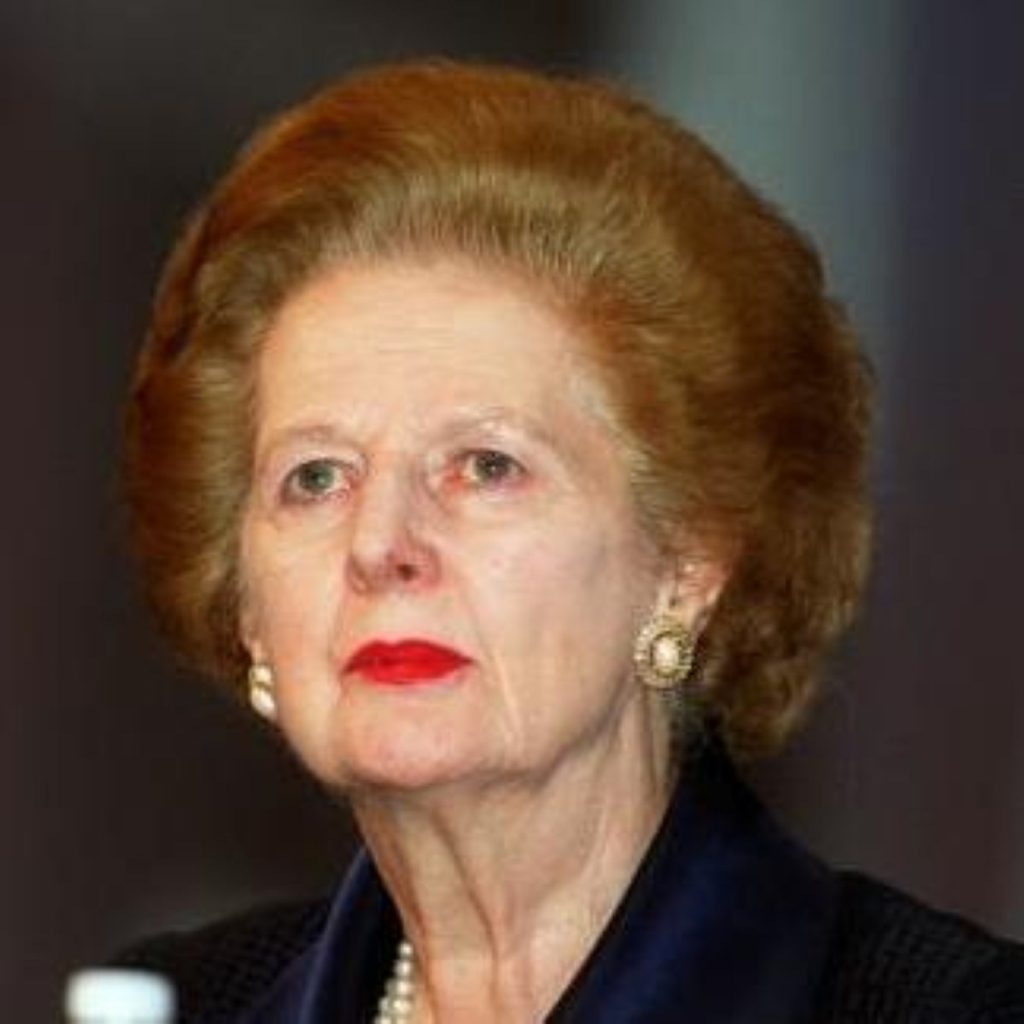Baroness Thatcher has returned home after spending two weeks in hospital for a broken left arm.