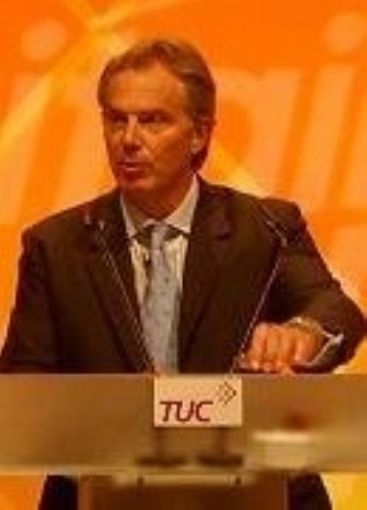 Tony Blair at last year's TUC conference in Brighton