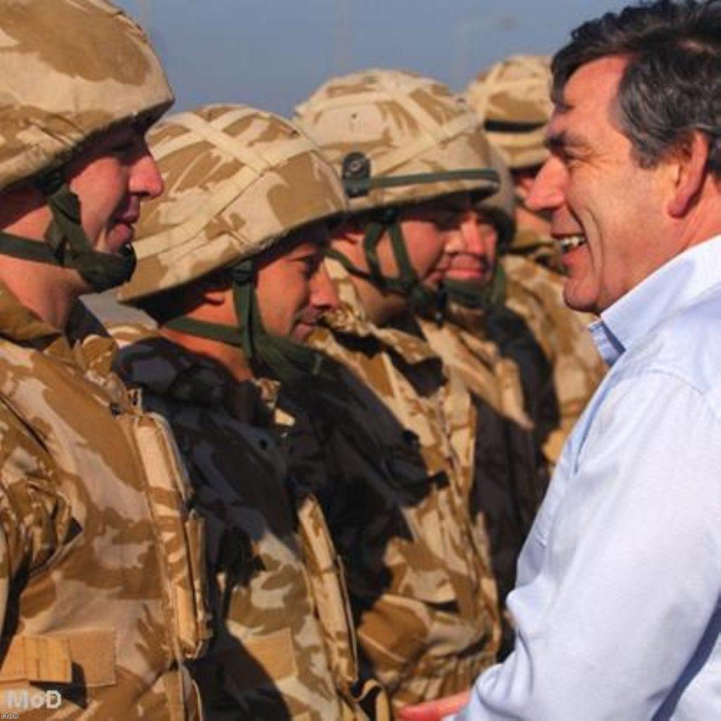 Gordon Brown has met with British troops