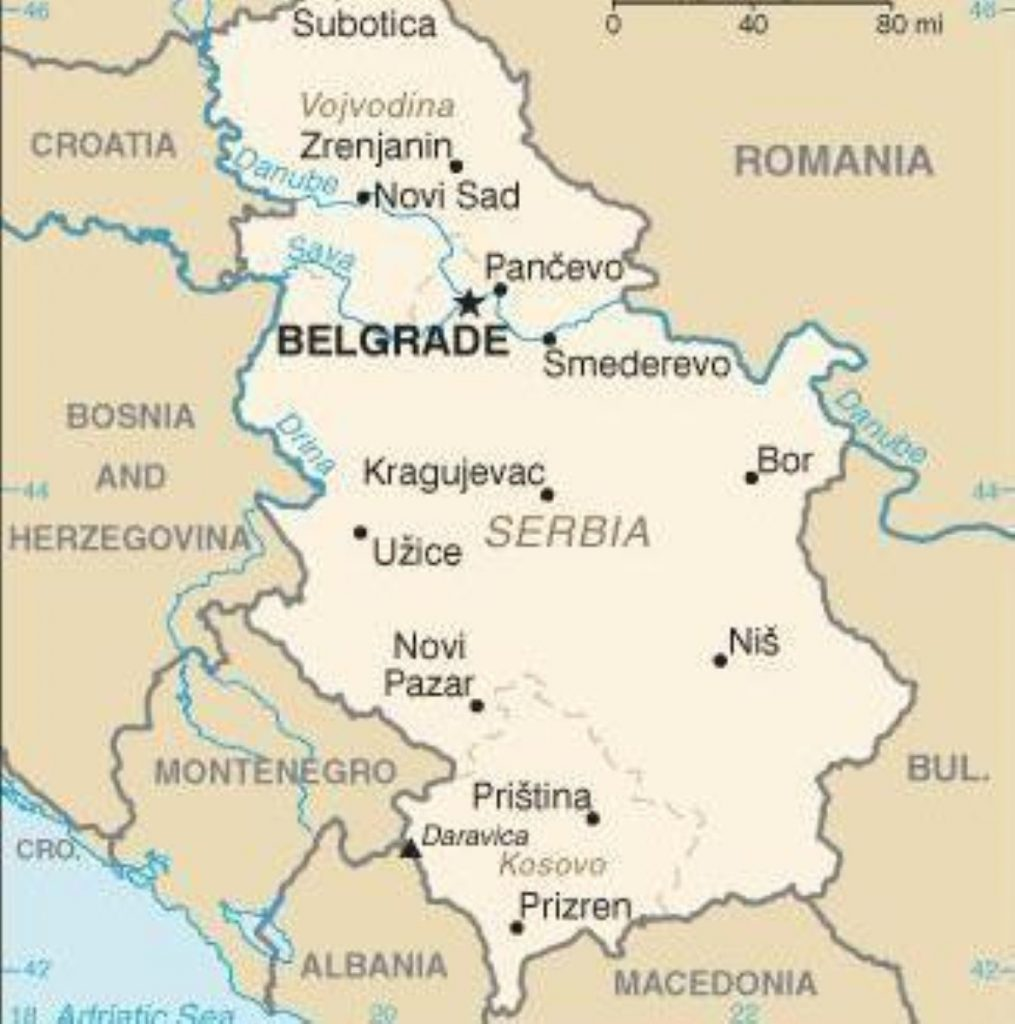 Kosovo is located in the south of Serbia
