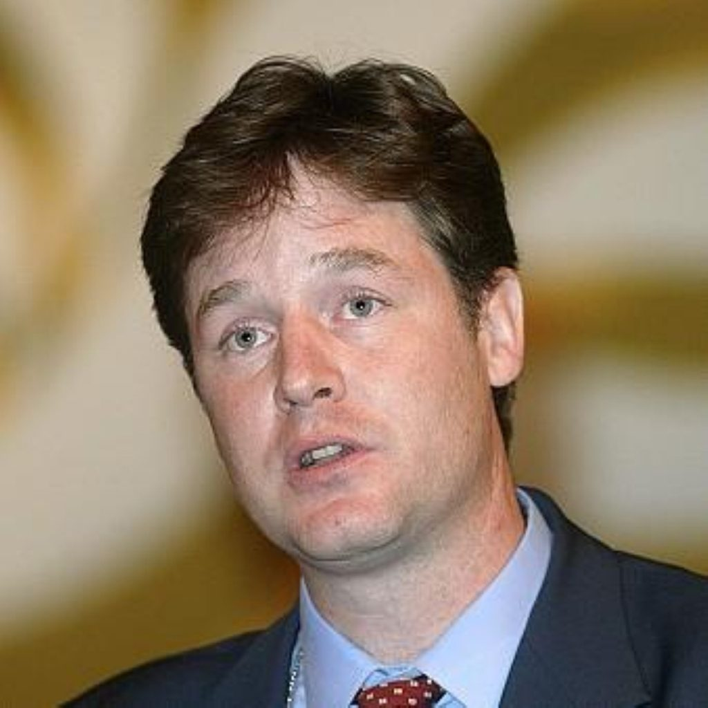 """Nick Clegg told activists he wanted to """"radically"""" shrink central govt"""