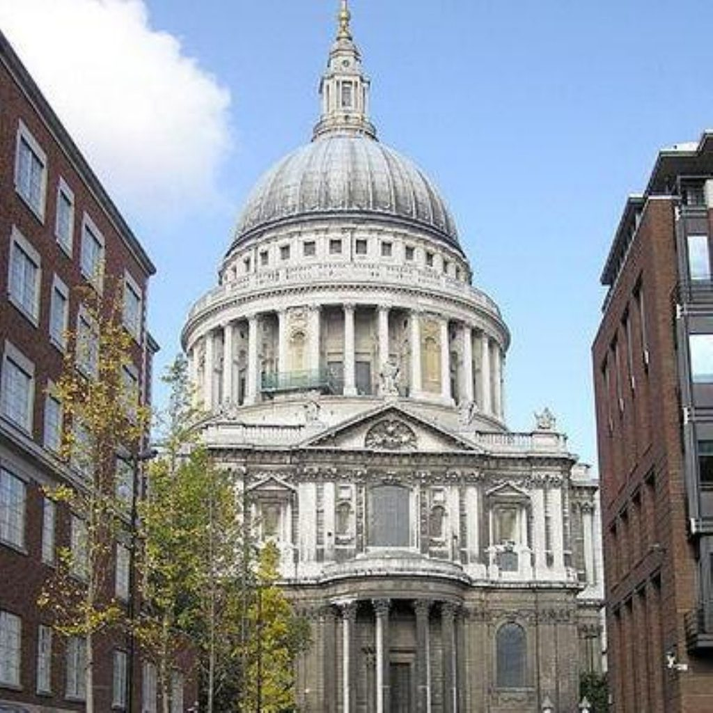 Gordon Brown addressed an audience at St Paul's Cathedral in London