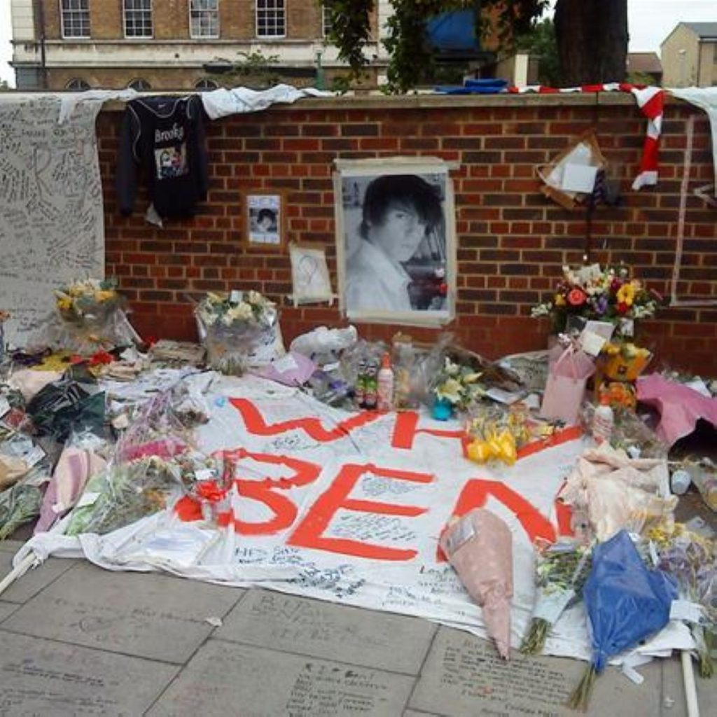 A memorial for knife victim Ben Kinsella, who was killed last year