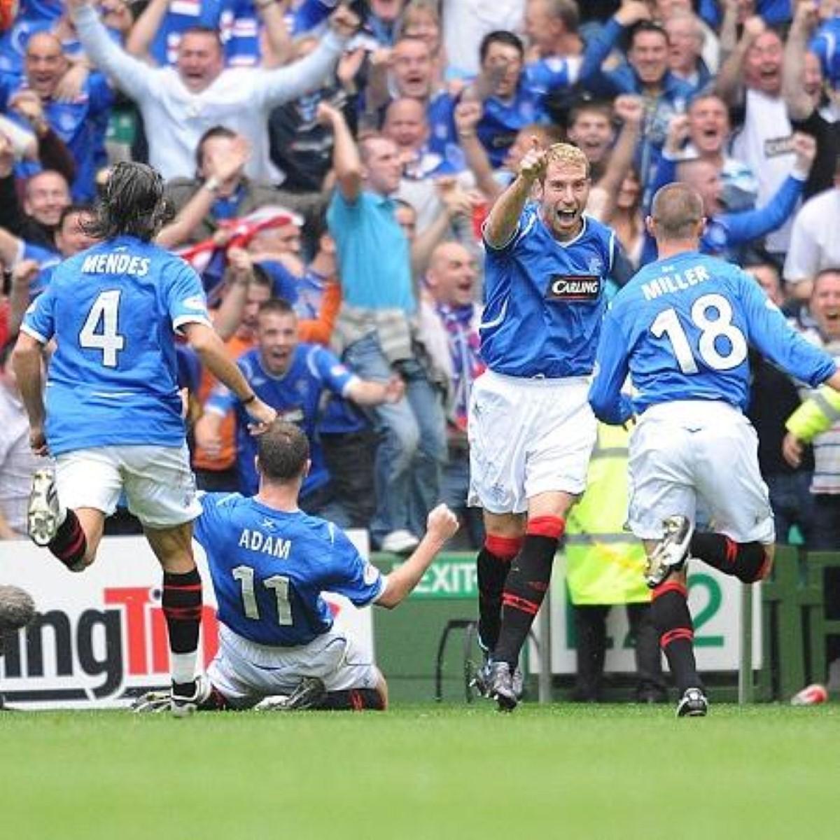 Rangers celebrate an Old Firm derby win