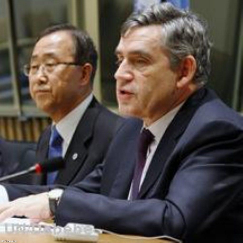Gordon brown met UN secretary general Ban Ki-moon this morning