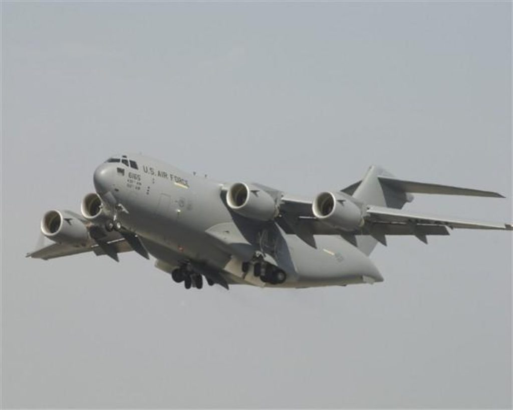 A C-17 transport aircraft like the one now stuck on the runway in Paris