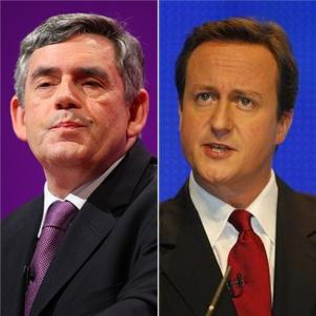 Brown and Cameron go head to head during PMQs today