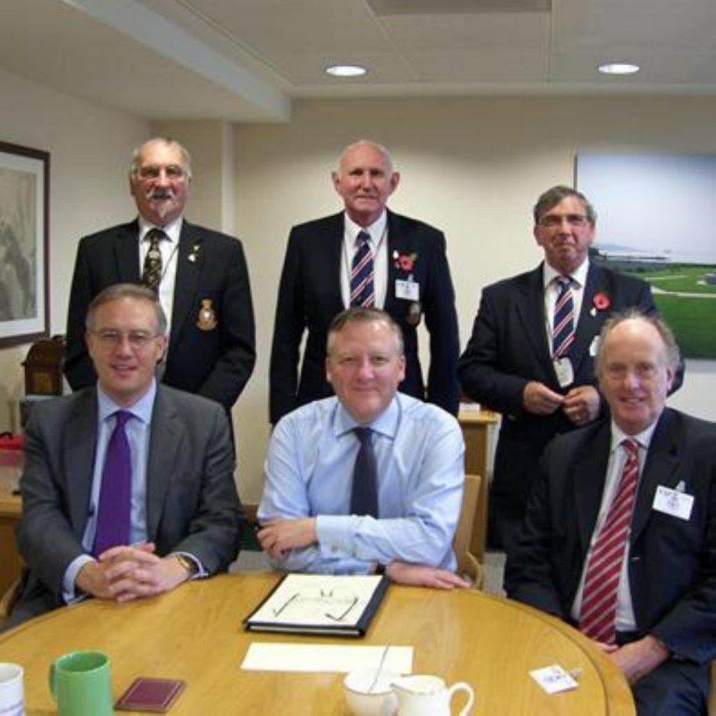 John Baron with Douglas Hern, John Lowe and  Jeff Liddiatt of the BNTVA, veterans minister Kevin Jones and Ian Gibson MP