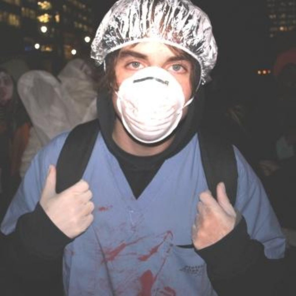 The demonstration took place in Canary Wharf on Halloween