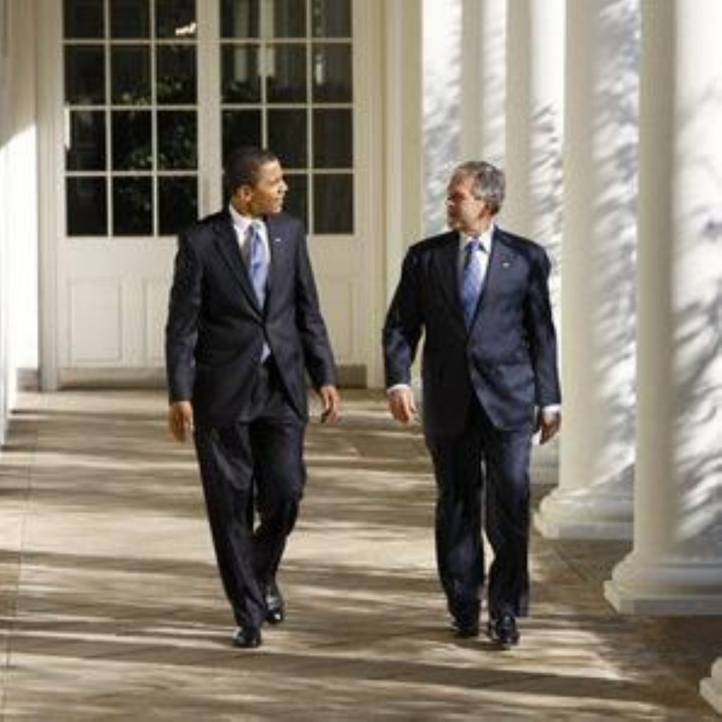 President Bush and Barack Obama meet during the latters visit to the White House on Monday