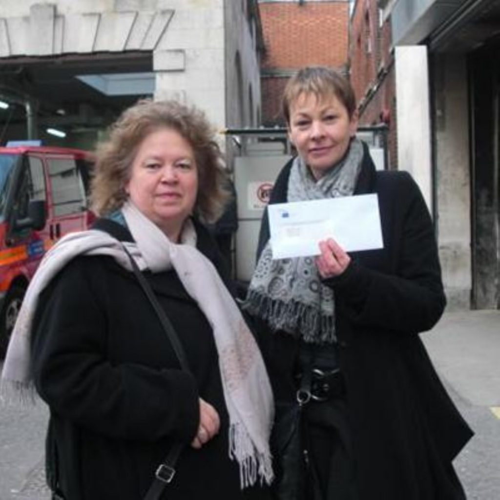 The two MEPs outside the Israeli embassy