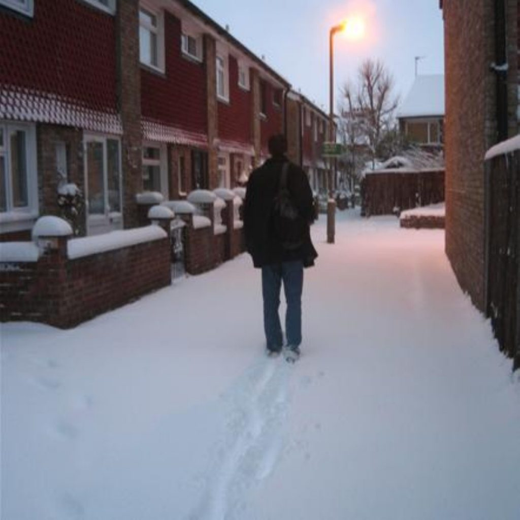 London struggles under the snow: Boris cites possible global cooling.