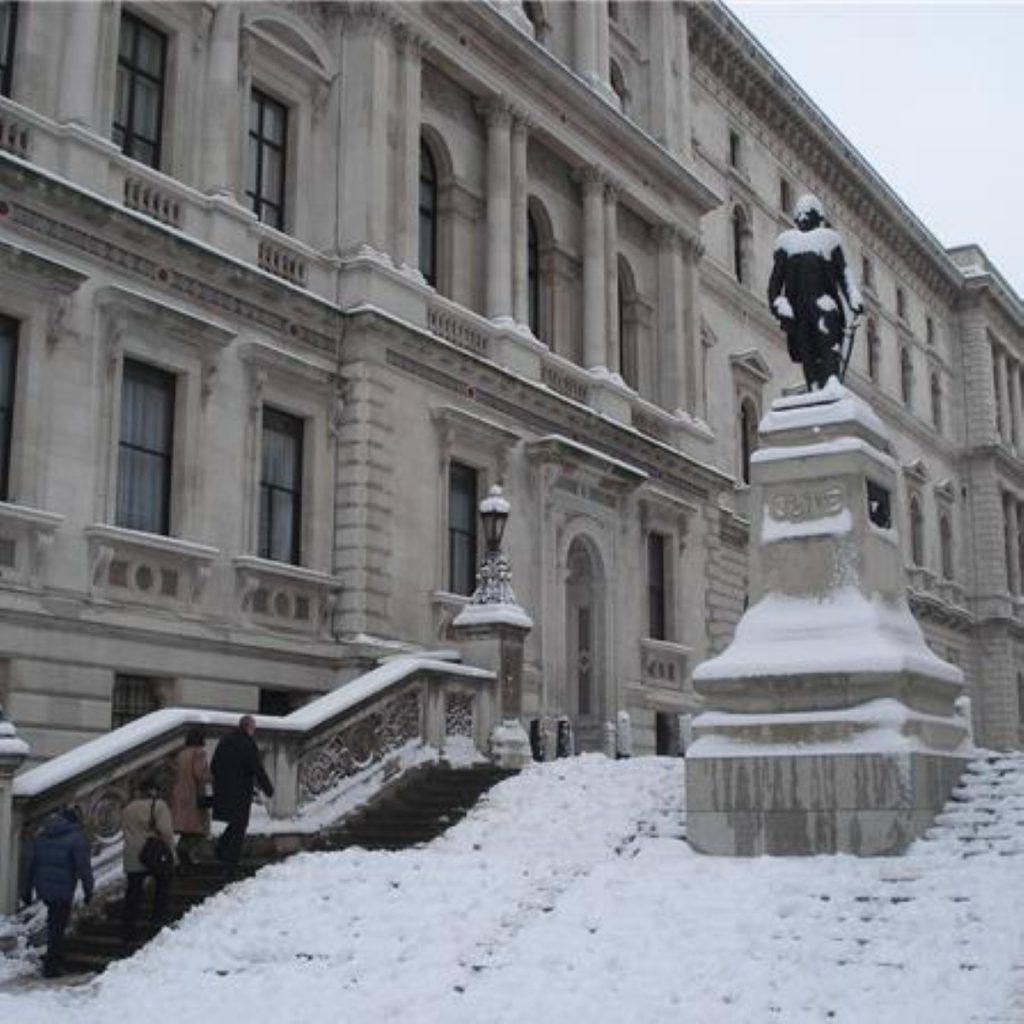 Whitehall in the snow: The weather was threatening political represcussions as well today.