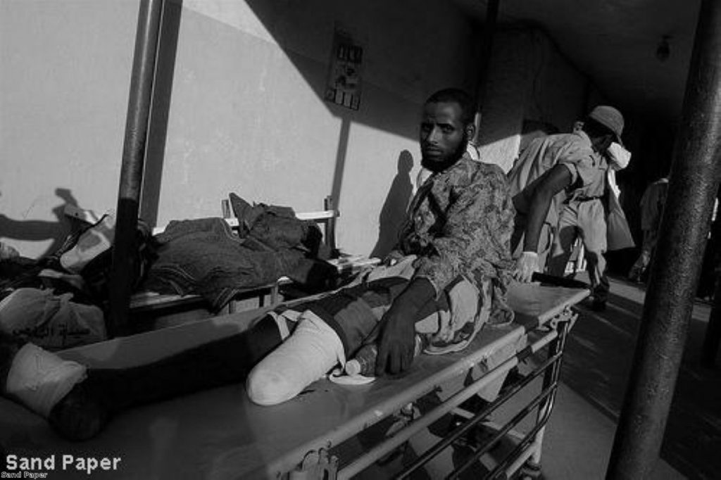 An amputated soldier following fighting in Somalia. Despite UNHCR appeals, Britain is deporting people back to the country.