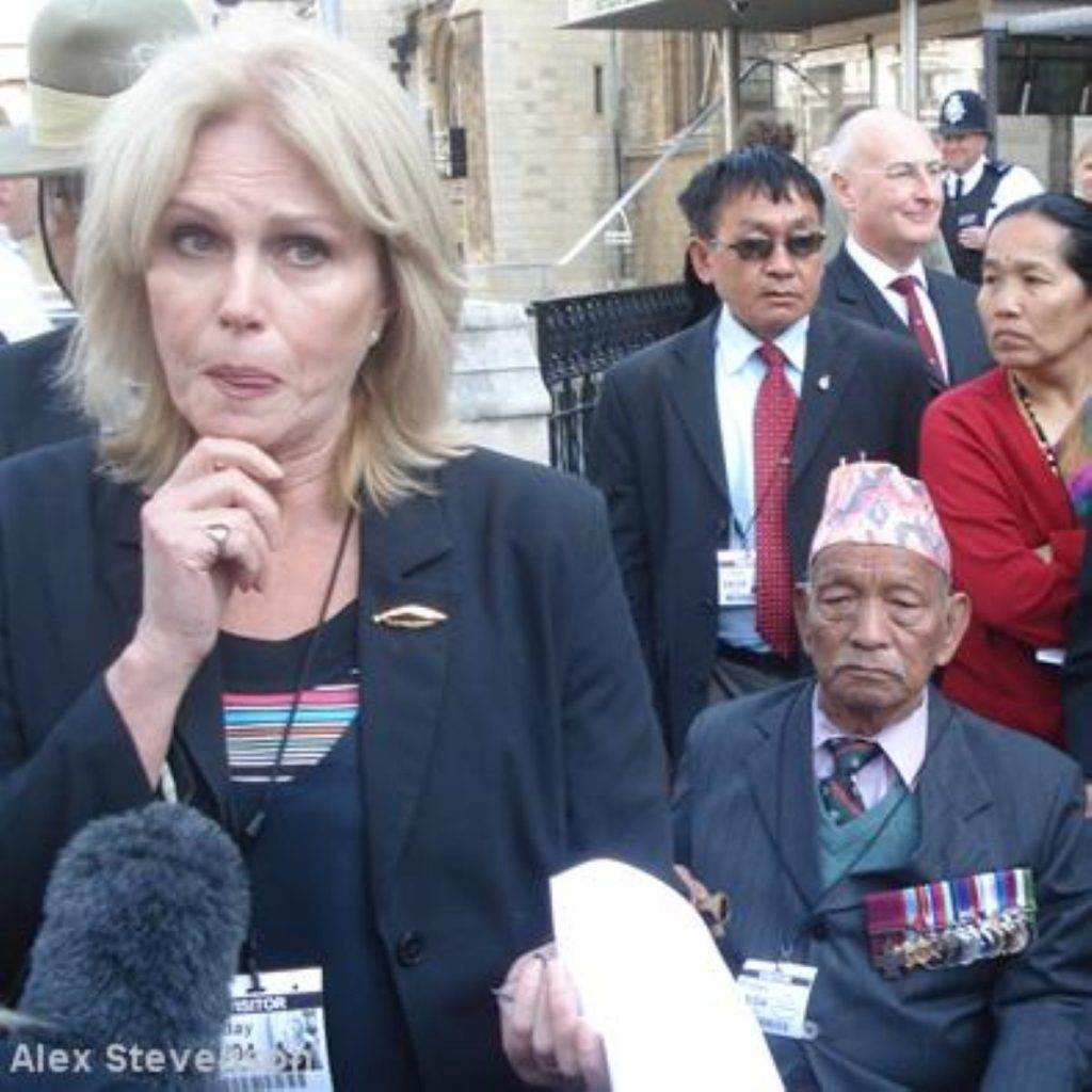 Gurkha campaigners outside parliament last week