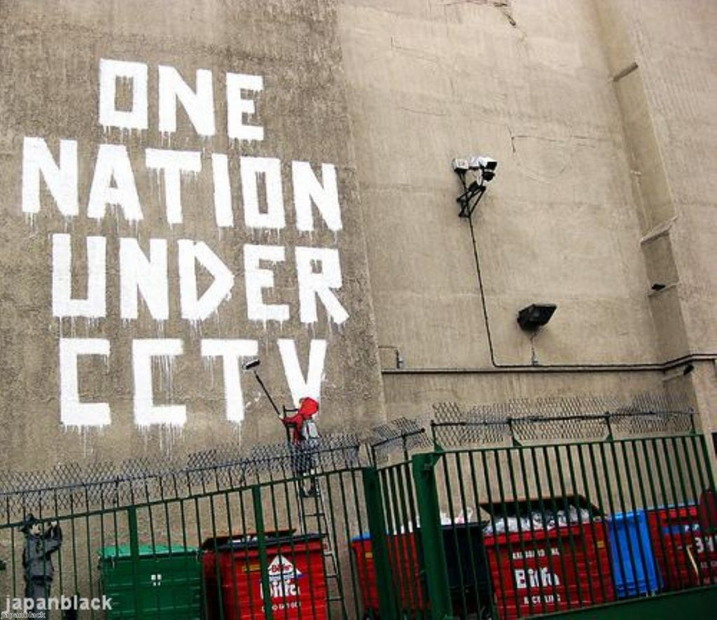 A Bansky piece protests the decline of civil liberties in Britain