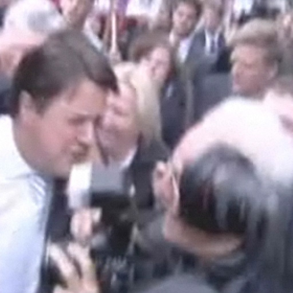 Nick Griffin being pelted with eggs at parliament shortly after becoming an MEP