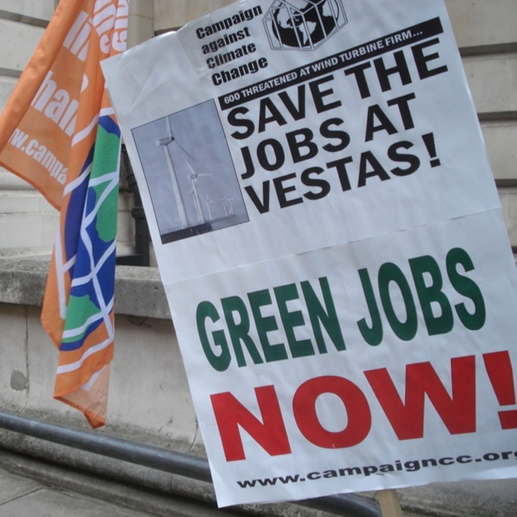 Vestas protest outside Department for Energy and Climate Change