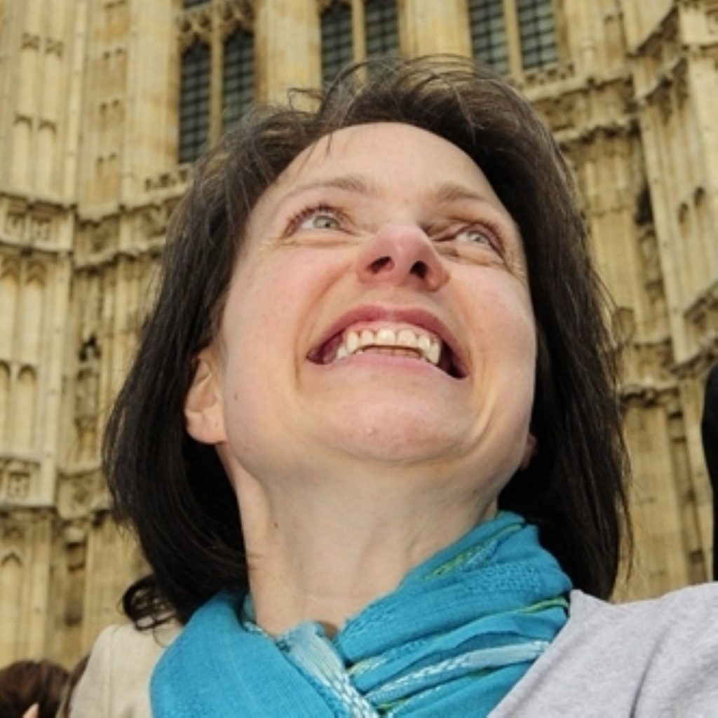 Debbie Purdy outside parliament after the judgment
