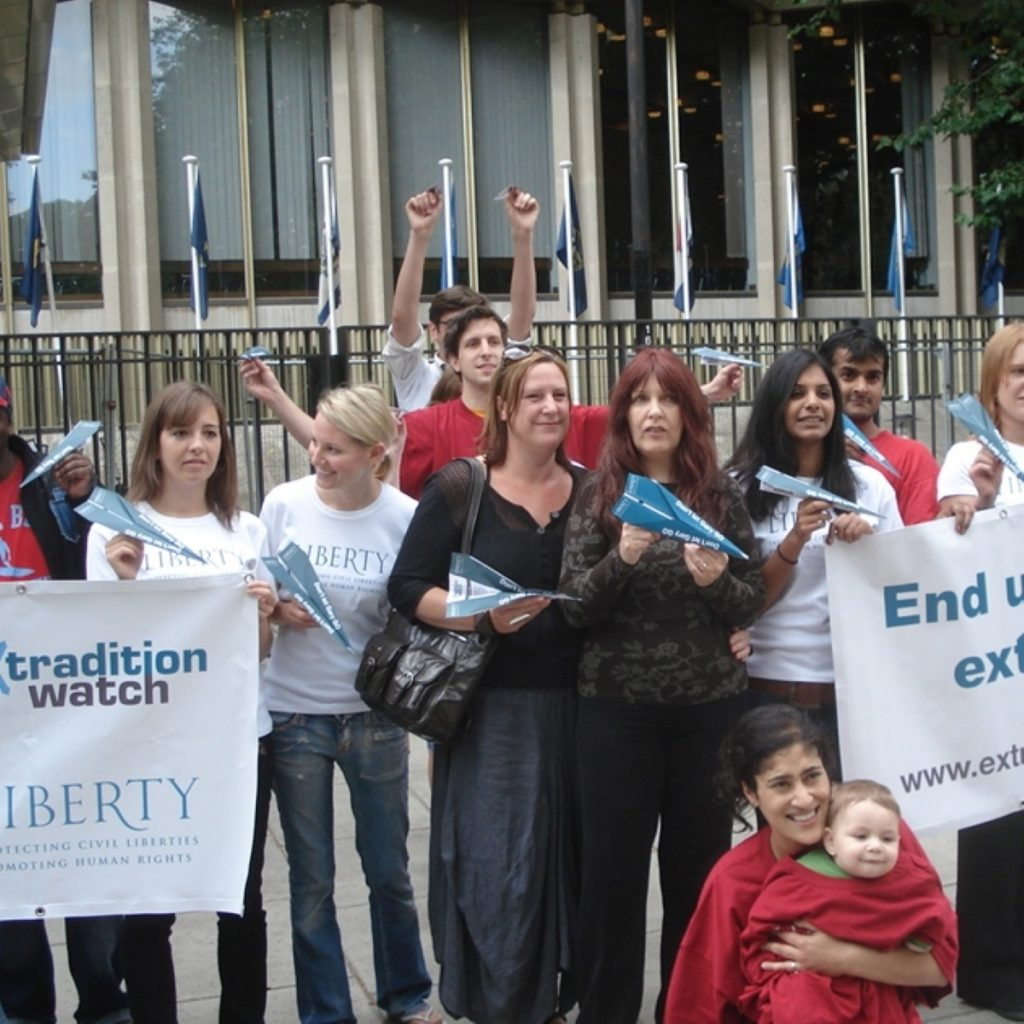 A Liberty demonstration against Mr McKinnon's extradition
