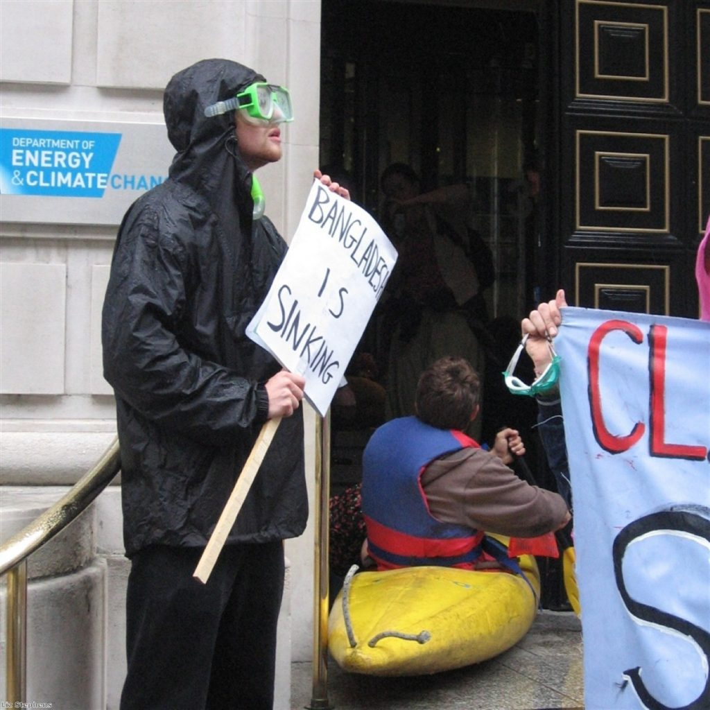 Activists at the DECC this morning