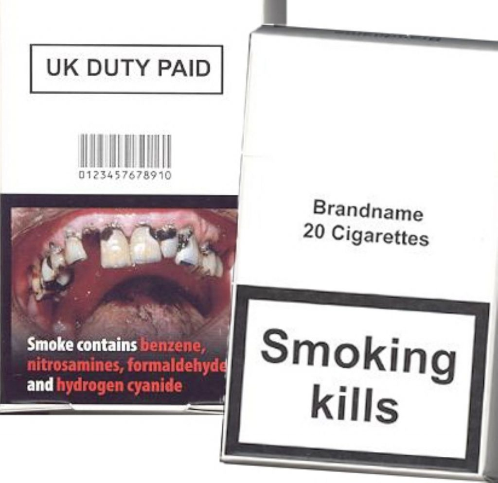 The new look cigarette packets as they might appear if the Lib dem amendment is passed