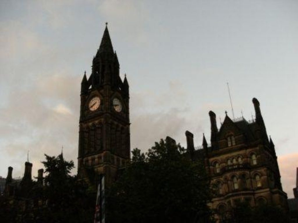 Manchester town hall, where the city council leader has stepped down after being cautioned for assault