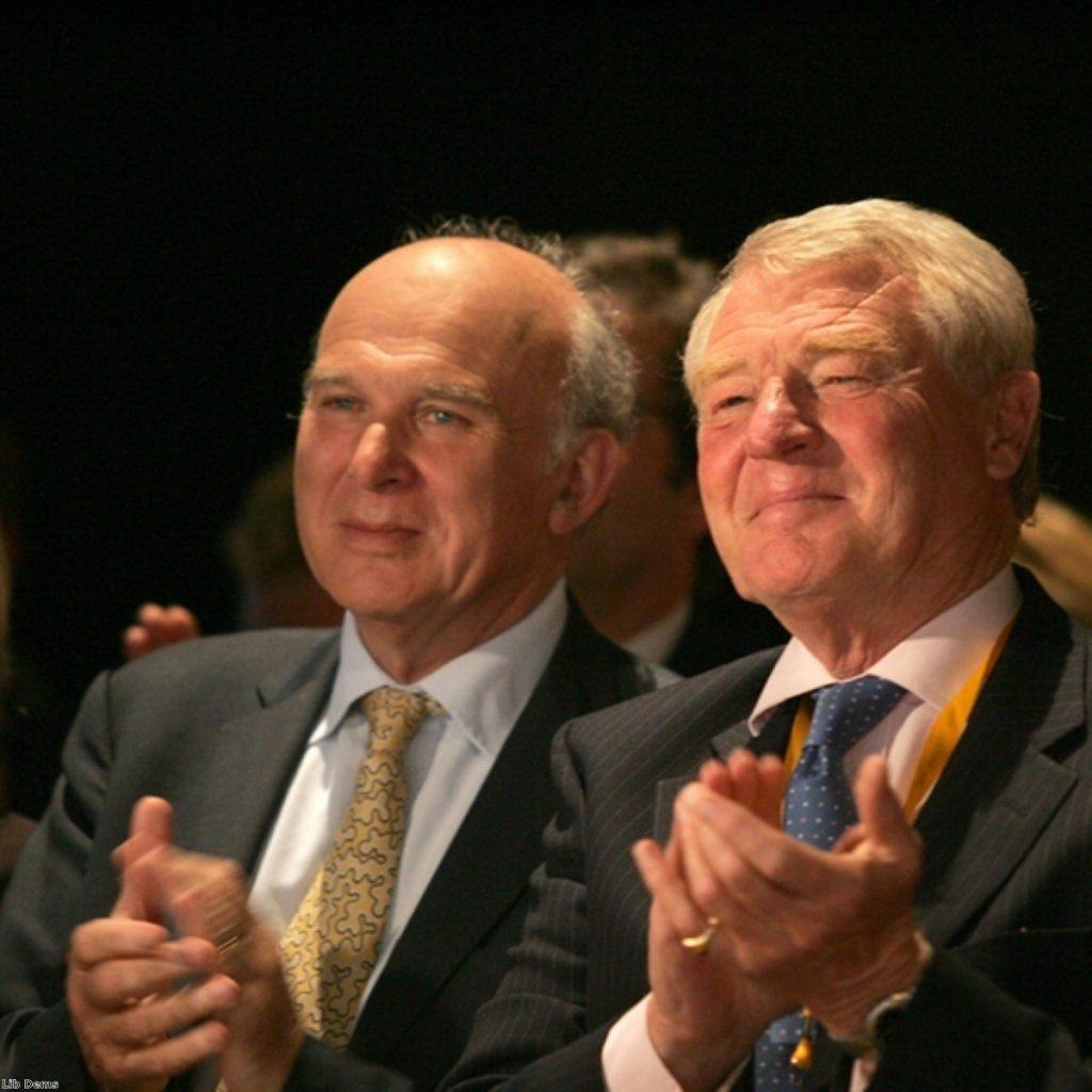 Paddy Ashdown (r) with another coalition malcontent, Vince Cable