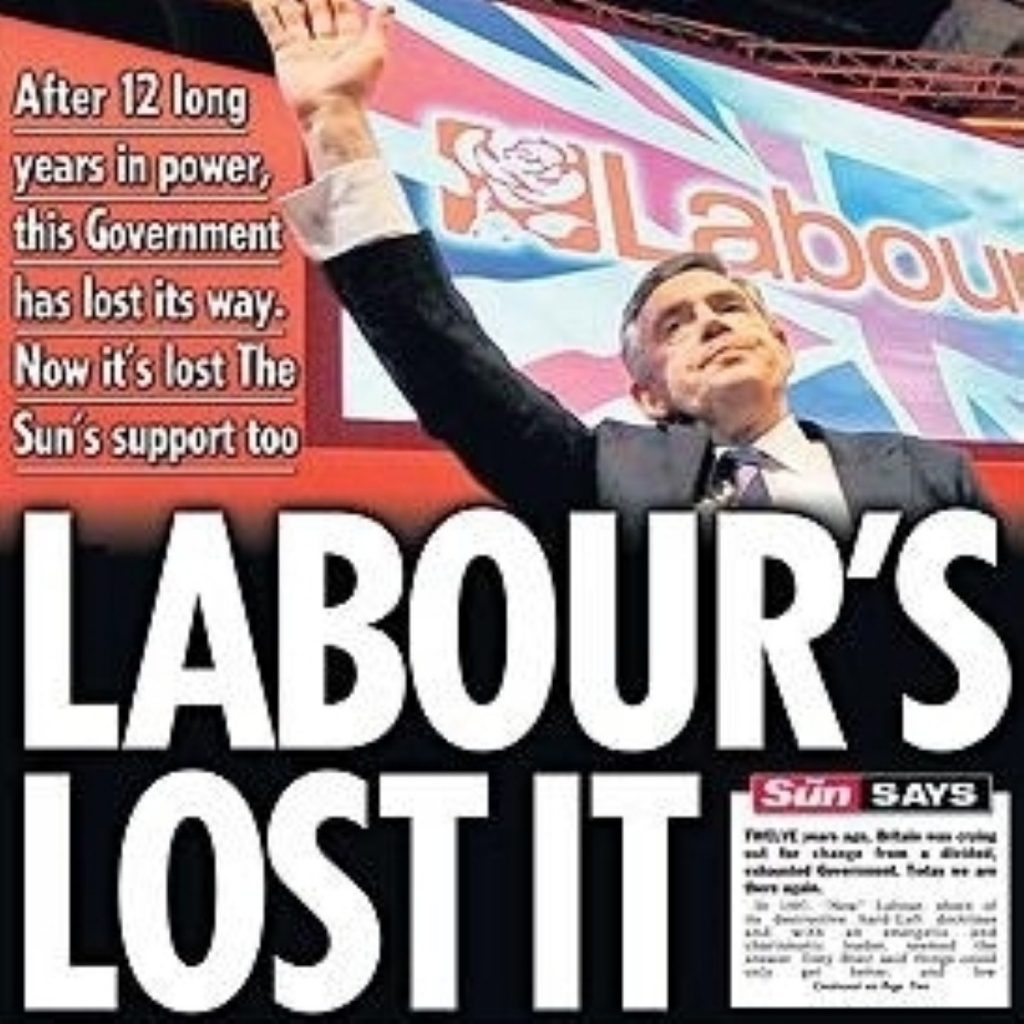 Labour's lost it: The Sun headline which marked a change of allegiance