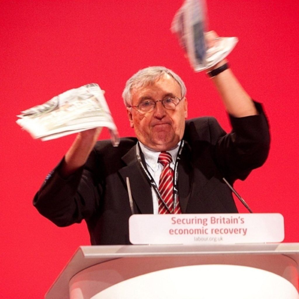 Tony Woodley, the leader of UNITE the union rips up the Sun at the Labour party conference