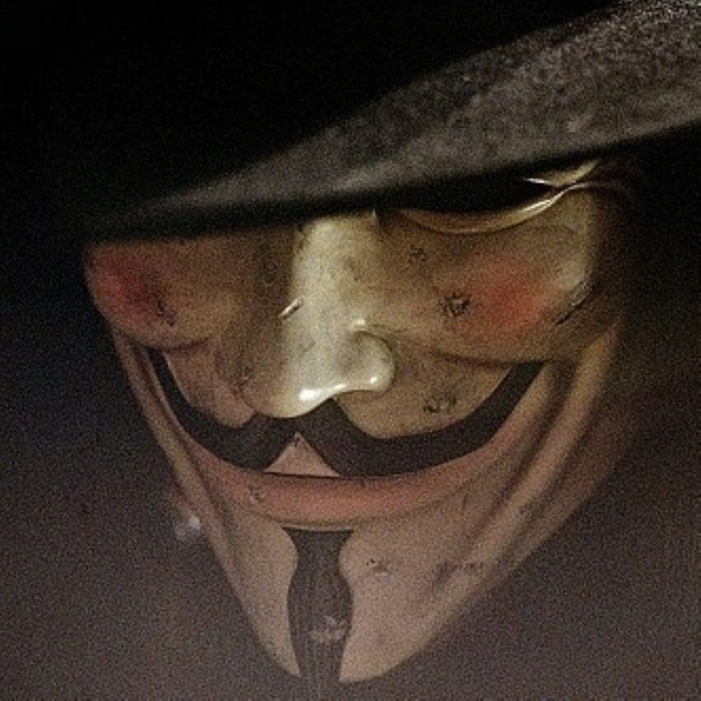The character of V, from V for Vendetta, has been taken up by various protesters.
