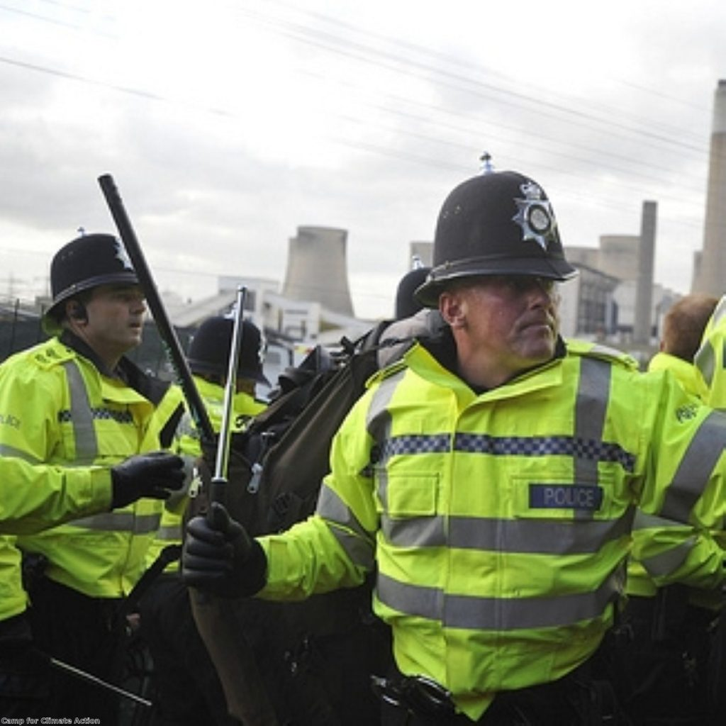 Police move in to a climate camp in 2009. Authorities have warned of a campaign for civil disobedience over fracking.