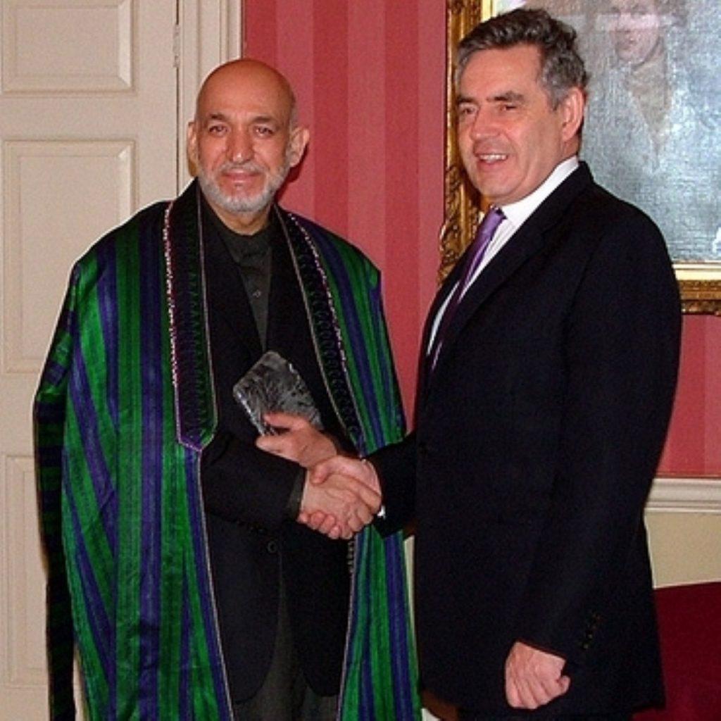 Gordon Brown with Afghan president Hamid Karzai