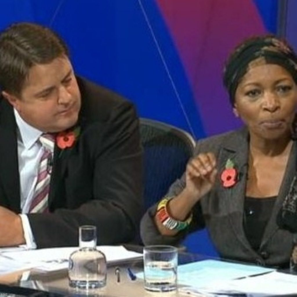 Griffin appeared on Question Time opposite Bonnie Greer