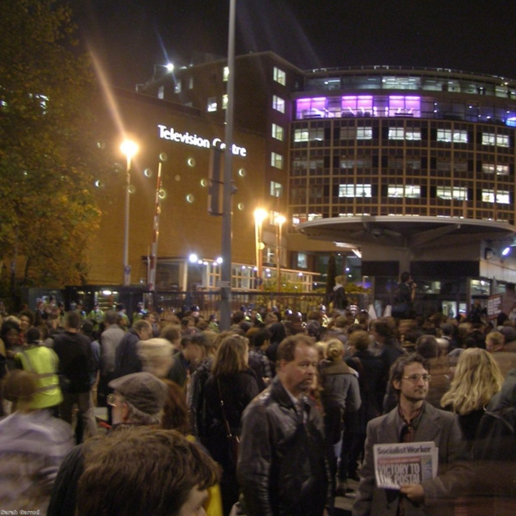 Protests outside the BNP when leader Nick Griffin appeared on Question Time