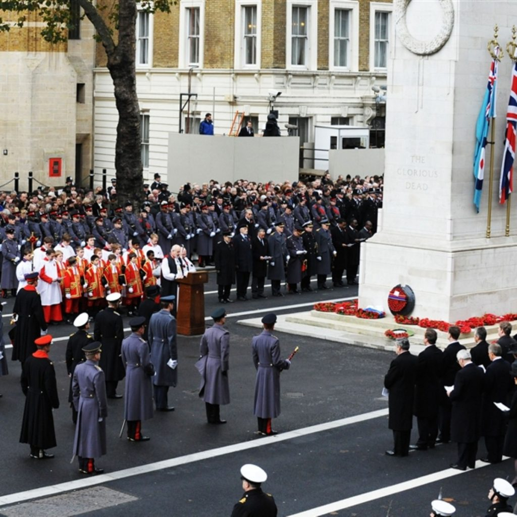 The Remembrance Sunday crowd at the Cenotaph on Sunday