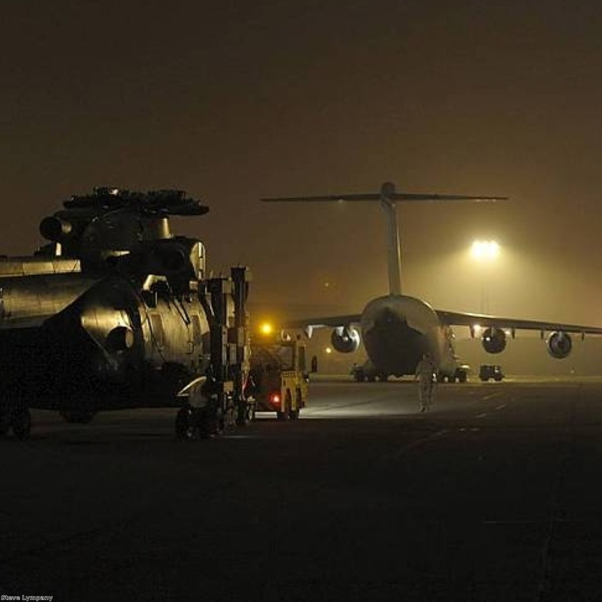 Blades clipped: The Merlin arrived at Camp Bastion transported in the C-17 carrier