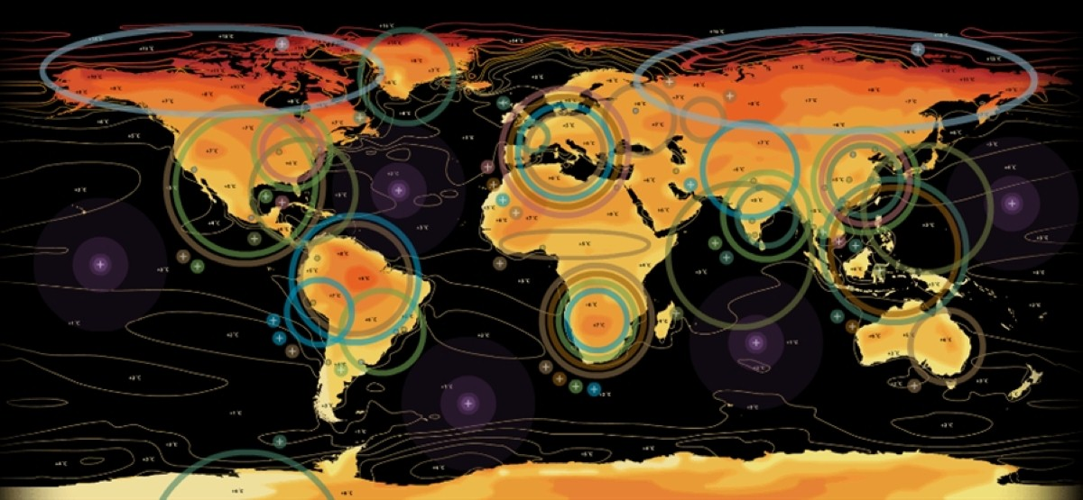 A climate change map from the Met Office highlighting the worst-affected areas
